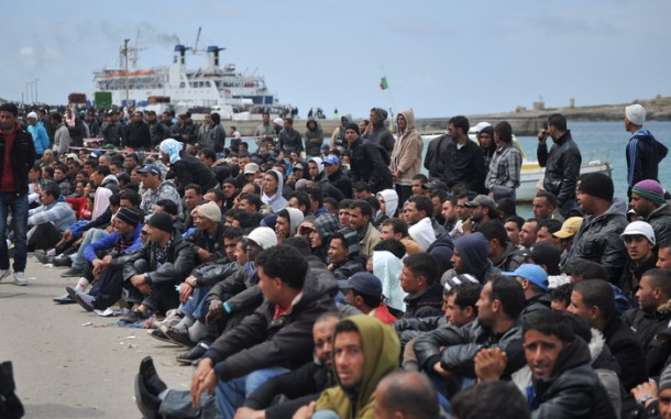 Refugees Fleeing North African Turmoil Reach Italian Island